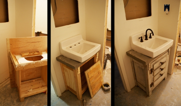 Bathroom vanity at the Redmond studio.