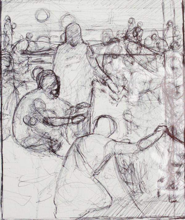 Working sketch for Christ and the Fishermen (Lovest Thou Me More Than These?) by J. Kirk Richards
