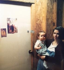 Amy holding Maegan outside my studio door at the Fugitive Art Center in Nashville.
